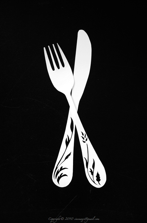 Sinemage papercut fork and knife