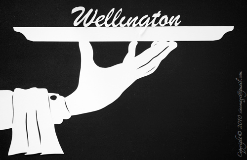 Sinemage papercut Wellington on a plate