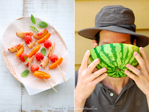 Sinemage watermelon skewers diptych