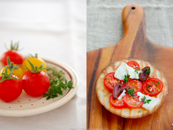 Sinemage diptych tomatoes plate and sourdough flatbread